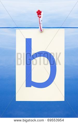 Seamless Washing Line With Paper Showing The Letter B