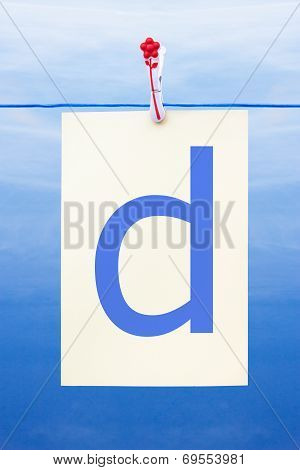 Seamless Washing Line With Paper Showing The Letter D