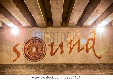 The Word Sound With Bass Speaker As Graffiti