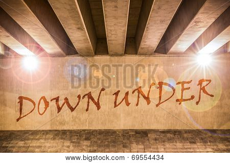 The Word Down Under Painted As Graffiti