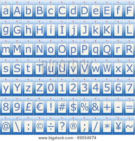 Complete Alphabet Numbers And Symbols Seamless In Blue