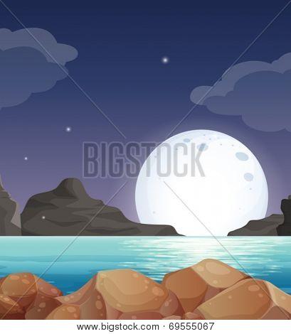 Illustration of a moon setting