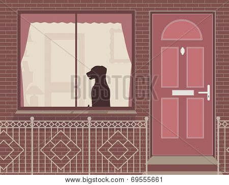 Editable vector illustration of a dog looking out of a house window