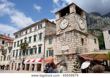 Kotor, Montenegro - July 14: Clock Tower On Square Of Arms On July 14, 2014 In Kotor, Montenegro