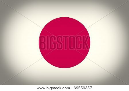 Retro Look Flag Of Japan