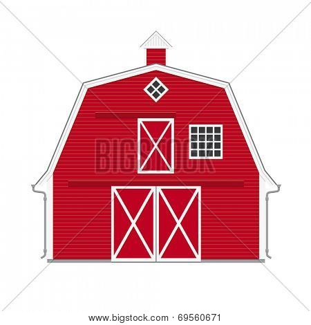 Traditional american red barn isolated. Vector Illustration of red barn on white background.