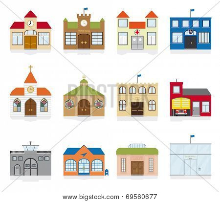 Small Town Public Building Icons Vector Illustration. Variety of public building and institutions symbols.