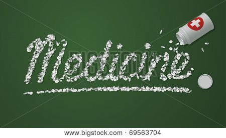 Medicine title created from pills and tablets