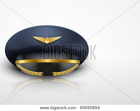 Light Background Aviator Peaked cap of the pilot. Vector.