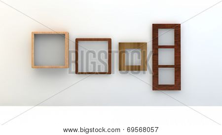 different types of empty wooden frame