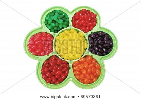 Jelly Beans In Flower Shaped Dish