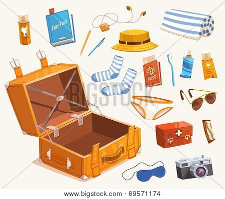 Travel equipment. Vector illustration.