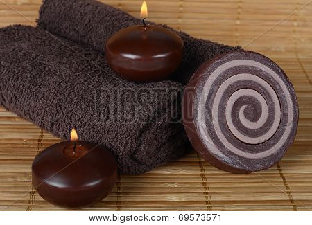 Set for spa-procedures on a bamboo rug