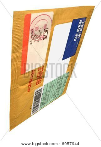 Single Yellow Mail Package (envelope), recycled Paper, Isolated On White