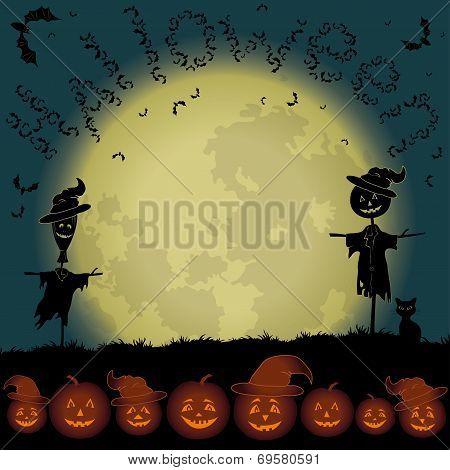 Halloween landscape, moon and pumpkins