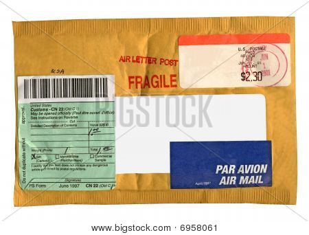 Single Yellow Mail Package (envelope) from recycled Paper, Isolated On White