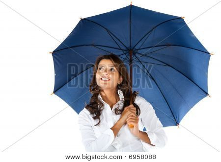 Business Woman With An Umbrella