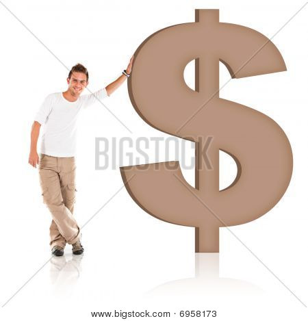 Man Leaning On A Dollar Sign