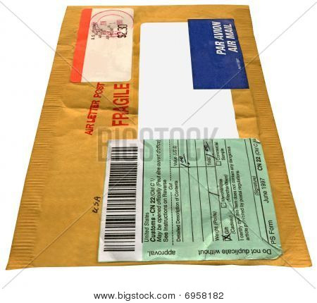 Single yellow mail package (envelope) isolated
