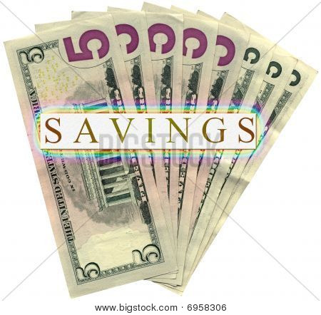 Heap Of Five Dollars Isolated On White, Savings Wealth.