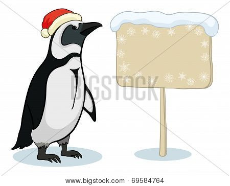 Penguin with Christmas poster