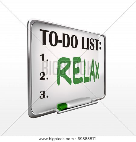 The Word Relax On To-do List Whiteboard