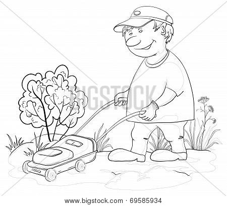 Lawn mower man, outline