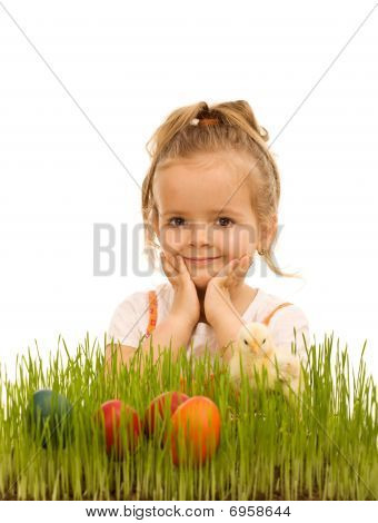 Little Girl Preparing For Easter