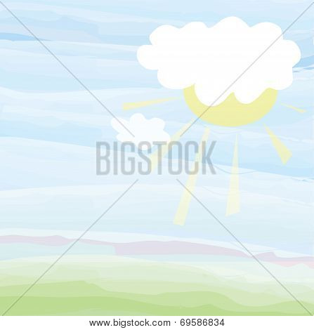 Card with sky and sun - pastel color illustration