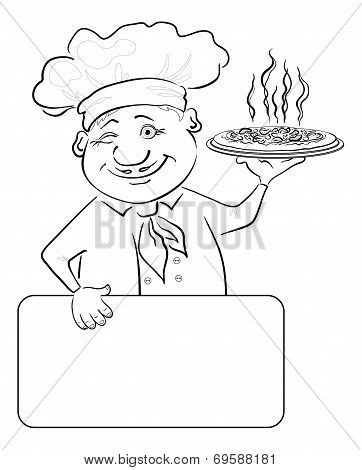 Cook with pizza and poster, contour
