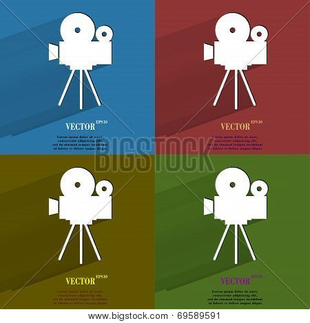 Color set Videocamera. Flat modern web button with long shadow and space for your text.