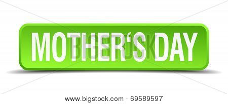 Mothers Day Green 3D Realistic Square Isolated Button