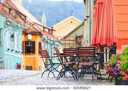 Typical Street Cafe Bar in Romania