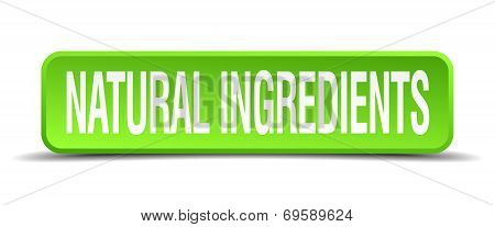Natural Ingredients Green 3D Realistic Square Isolated Button