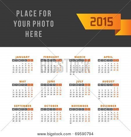 Calendar 2015 vector design template