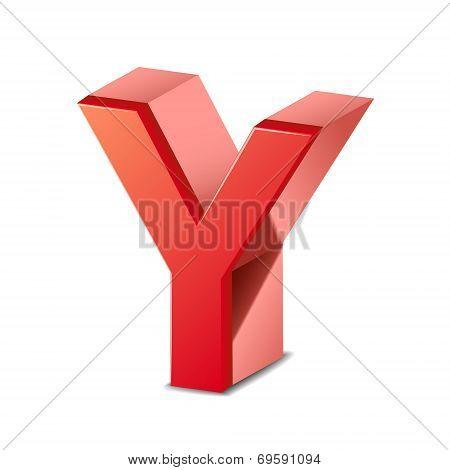 3D Red Letter Y