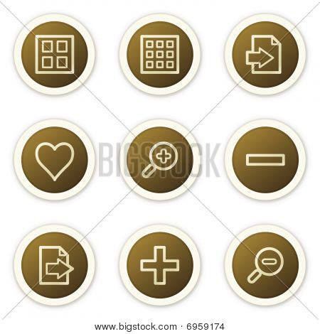 Image viewer web icons set 1,  brown circle buttons series