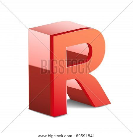 3D Red Letter R
