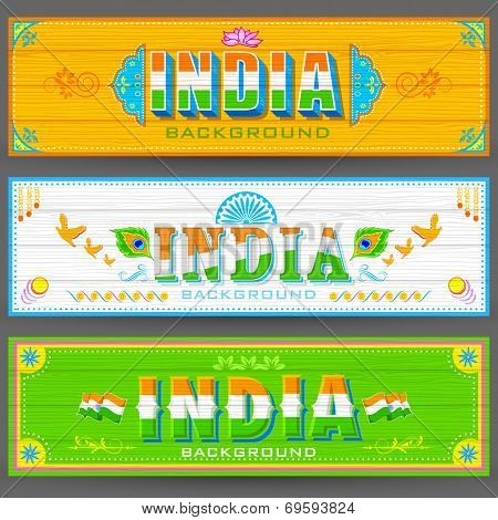illustration of India banner in truck paint style