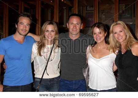 LOS ANGELES - AUG 1:  Ryan Carnes, Kelly Sullivan, WIlliam deVry, Nancy Lee Grahn, Rebecca Staab at the William deVry Fan Club Event at the California Canteen on August 1, 2014 in Los Angeles, CA