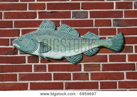 Fish stone basrelief