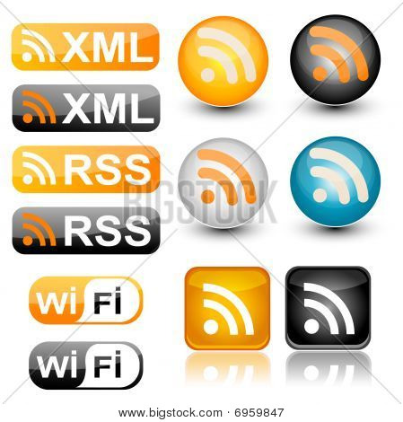 colorful rss icon set