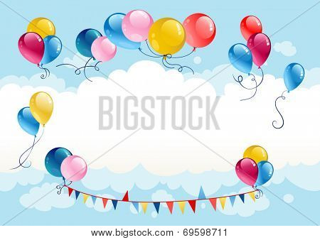 Festive summer background with balloons. Raster version.