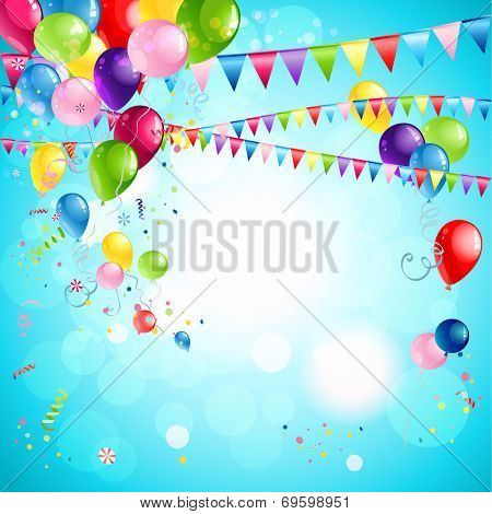 Happy holiday background with bright multicollor balloons. Raster version.