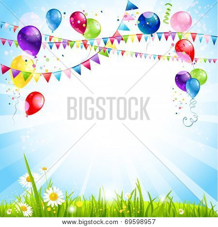Summer holiday background with balloons. Place for text. Raster version.