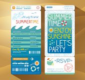 stock photo of boarding pass  - summertime holiday party boarding pass background vector template for summer card - JPG
