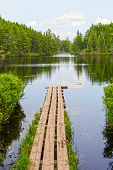 stock photo of dock a lake  - Portage Dock to Swamp Lake in the Quetico - JPG