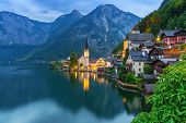 stock photo of world-famous  - Hallstatt village in Alps at dusk - JPG