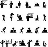 foto of sleeping bag  - Set of black school children silhouette icons showing a wide variety of activities both inside and outside the classroom conceptual of secondary education - JPG