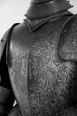 image of armor suit  - medieval armor in san leo town italy black and white - JPG